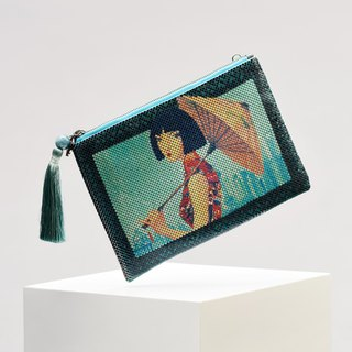 CoinQian Jin Se Blue handmade sequined shoulder bag clutch bag