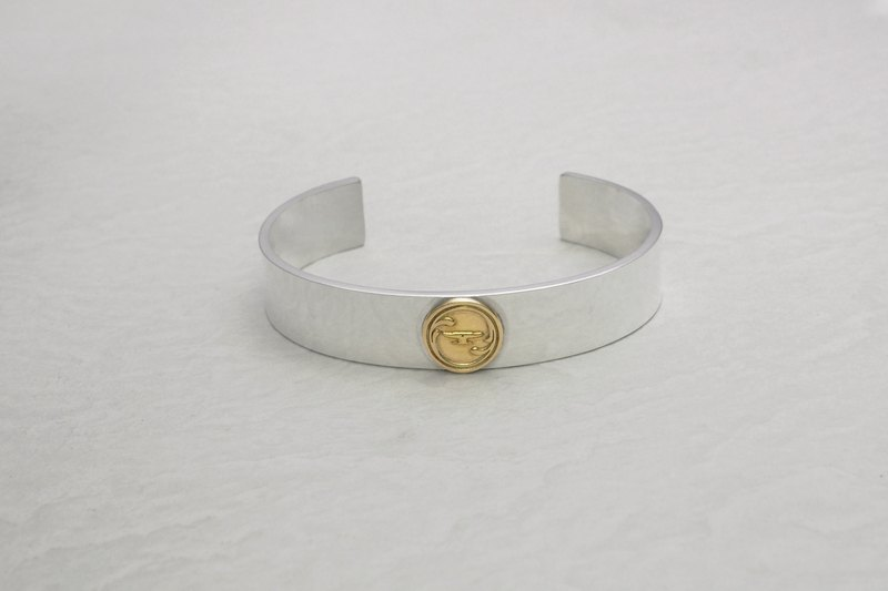 925 silver Bangle with 18k gold Anviology logo tag