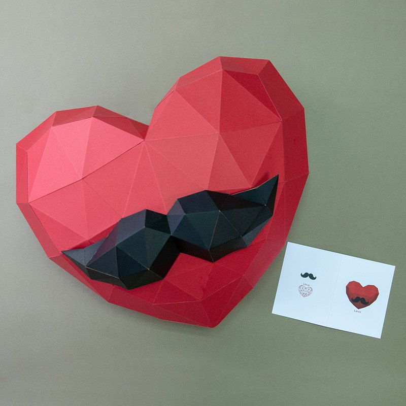 DIY hand made 3D paper model gift ornaments festival series - beard big love combination (with small card)