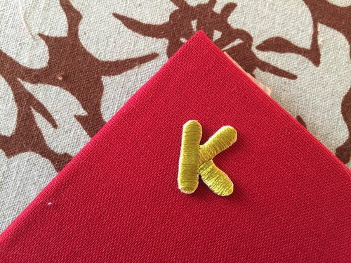 Capital letters K-self-adhesive embroidered cloth stickers