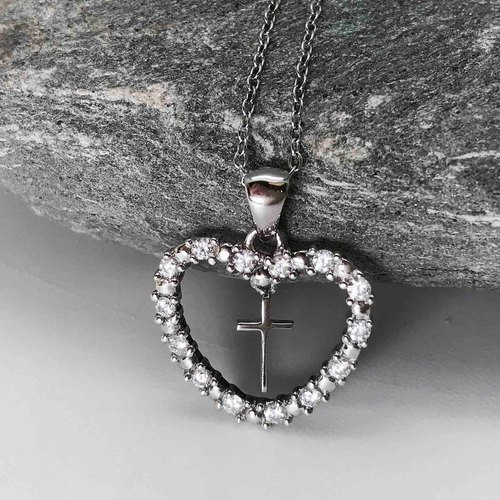 Zircon Heart Cross Clavicle Necklace Sterling Silver Bling Sparkling Clear