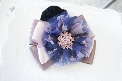 Sweet House Dream purple yarn bow ring handmade E. Limited