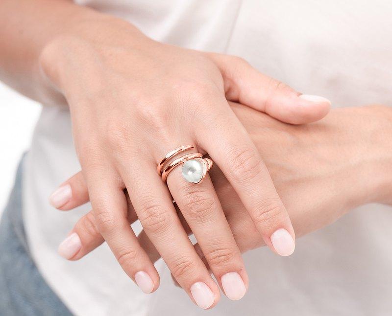 淡水珍珠925純銀戒指 螺旋環繞造型戒指 圓球寶石雞尾酒厚版戒指