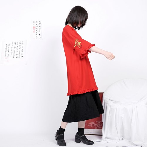 Shaoyaoju original black and red small ear embroidery loose boyfriend wind T shirt leisure 17 summer dress