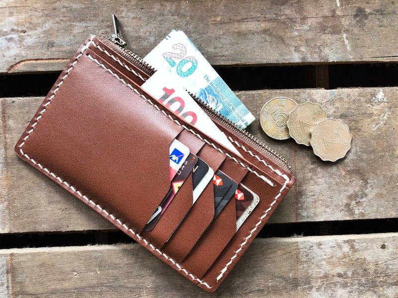 4咭位拉鍊銀包 皮革材料包 好好縫 錢夾 拉錬 DIY 零錢包 植鞣