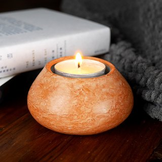 Red Stucco Candle Holder