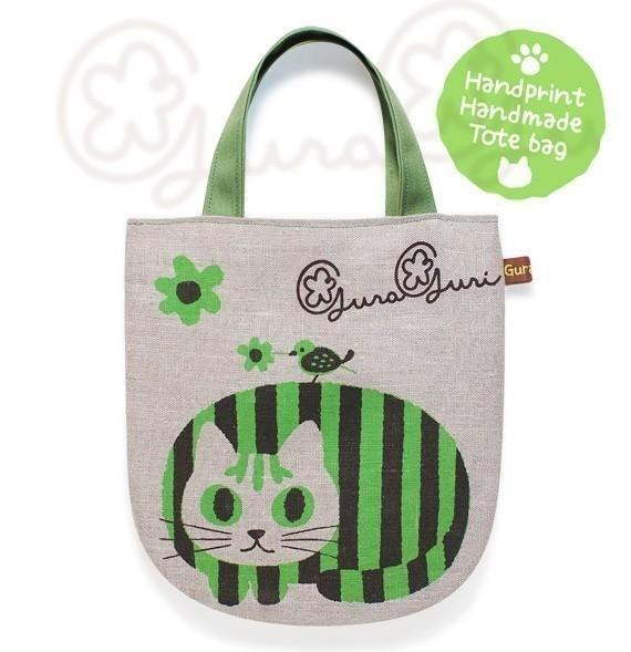 GuraGuri | linen mini tote bag | Green round cat