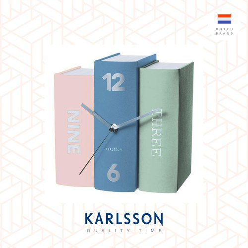 Karlsson, 設計師書本枱鐘 Table clock Book pastel tones paper