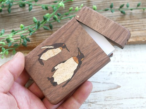 Wooden business card holder 【penguin】 walnut