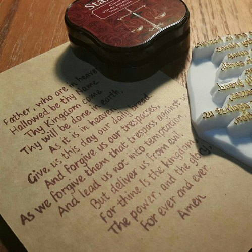 Hand rubber stamp [] the Lord's Prayer (English)