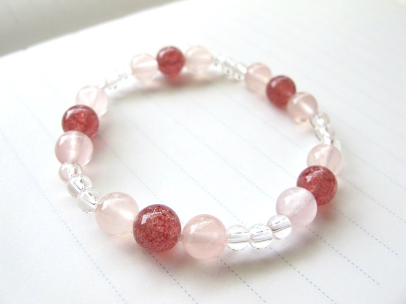 【Core】 Strawberry Crystal x Crystal White x White Crystal - Handmade natural stone series