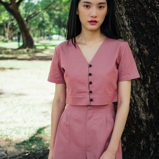 (SIZE S) ROSE PINK COTTON LINEN BUTTON FRONT CROP TOP