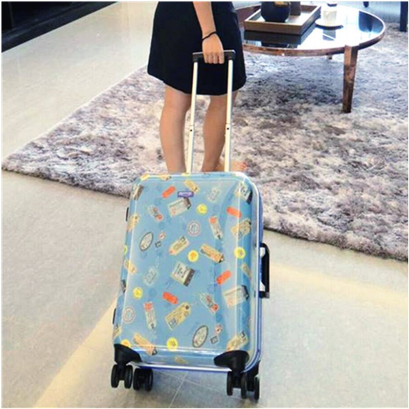 Postmark map printed water blue - handmade printed fashion aluminum frame 20 吋 luggage / suitcase