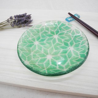 Highlight Also - Kiln Burning Glass Plate / Tile Series - Green