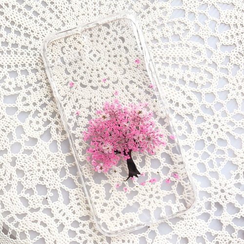iPhone 7 Handmade Pressed Flowers Case Pink Tree case 006