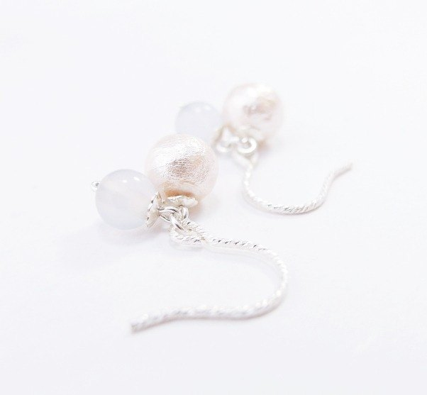 | Touch of moonlight | Yun airy cotton blue 925 sterling silver earrings