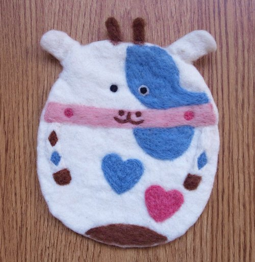 Potholder, Trivet, Pan Coaster, Pot holder, Felt Trivet Animal Cow