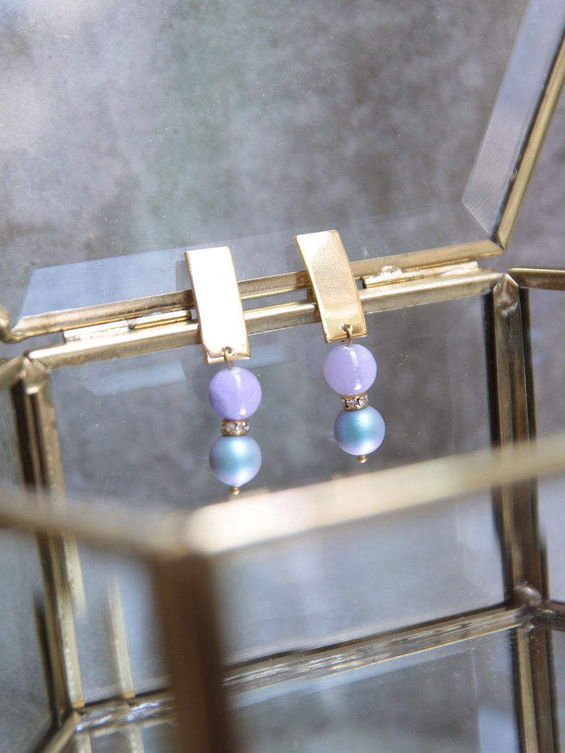 Lavender purple sky natural stone gold earrings stainless steel ear pin