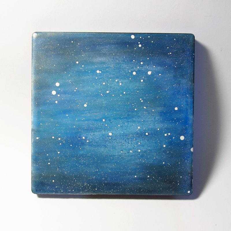 Hand-painted coasters / like the universe is also like the sea