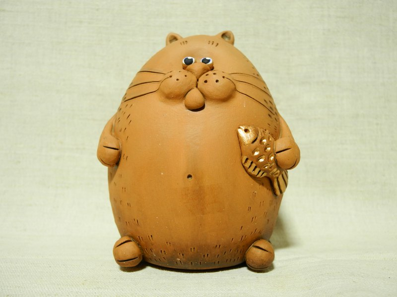 Cat with Fish Coin Bank