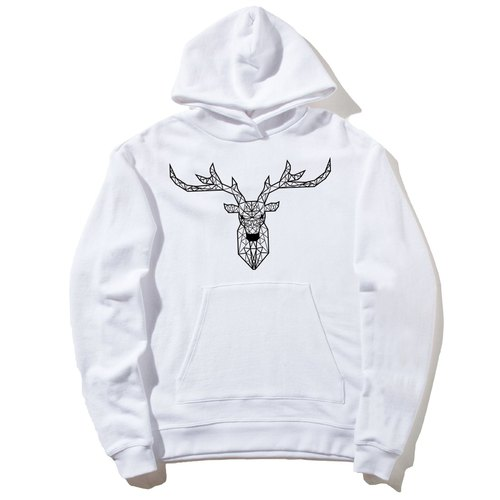 Deer Geometric front figure long-sleeved bristles hooded T neutral version of the white geometry Deer universe design own brand Milky Way fashion triangle