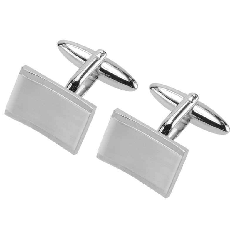 Plain Metal Brushed Rhodium Cufflinks