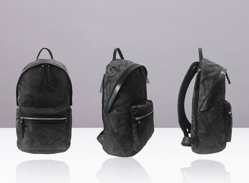NEVER MIND portable waterproof laptop backpack - leather + waterproof camouflage jacquard -Cloud- stylish black - Anniversary