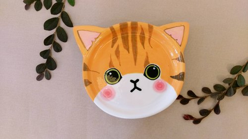 Valentine's Day birthday gift preferred orange tabby underglaze painted pinch modeling plate