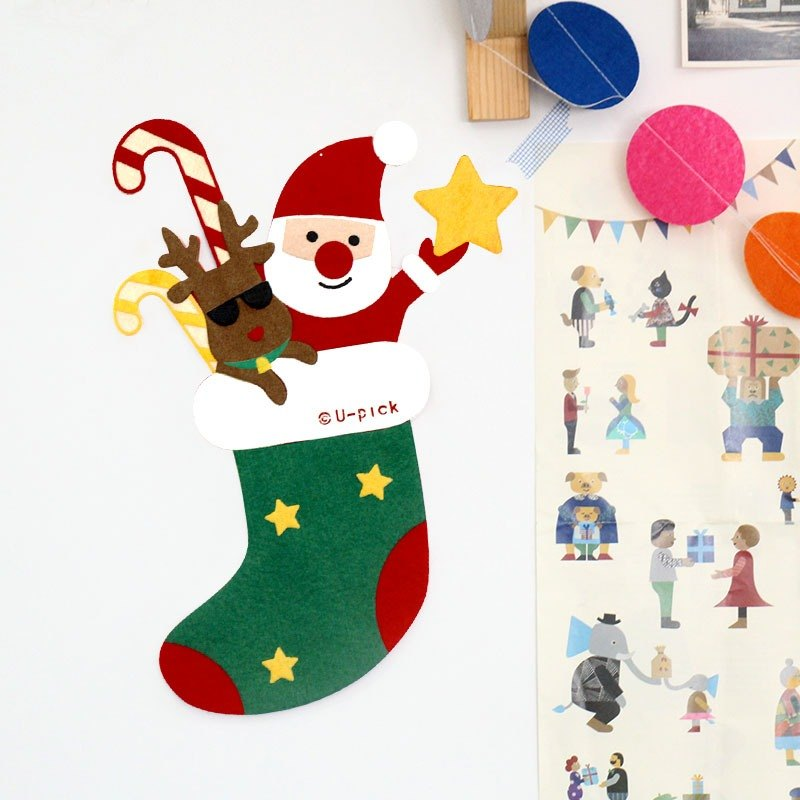U-PICK original life new year Christmas door stickers creative door stickers hanging non-woven door stickers 4