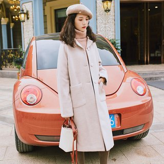 2018 women's winter wear small collar raglan sleeve long coat