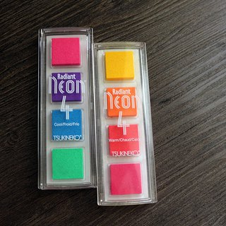 Addition of goods Japan TSUKINEKO India Taiwan Radiant Neon paper with four ink pad 2 selection