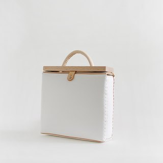 JOYDIVISION Blanc white vegetable tanned leather handmade retro WOOD Diana package female hand bag handbag