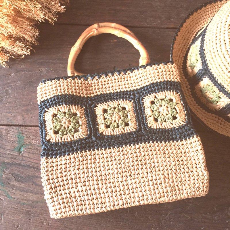 憨 and slow need to learn to weave walking bag / paper Raffia / bag green