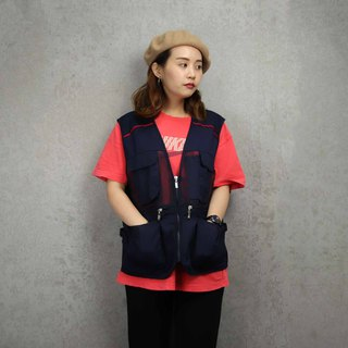 Tsubasa.Y ancient house 007 navy blue striped net fishing vest, fisherman vest, both men and women can wear