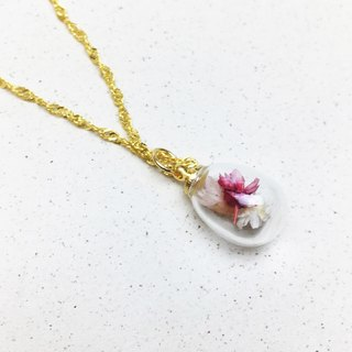 Bulb Glass Ball Necklace - Forever First Love - Dry Yongsheng Flower Limited Necklace