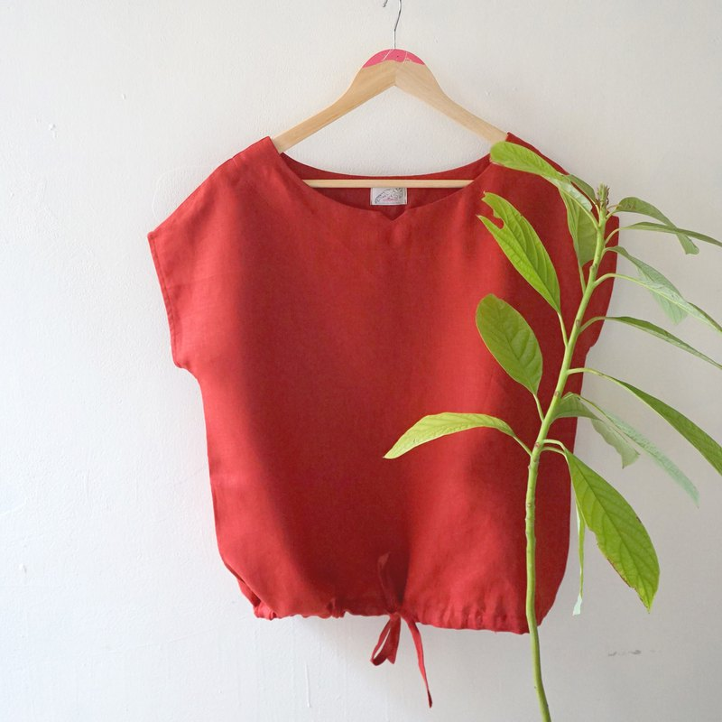 Heart Flower Series - Comfortable and Breathable Beautiful Red Linen Short Sleeve Top