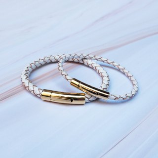Gold stainless steel buckle 4mm white calfskin braided bracelet (single)