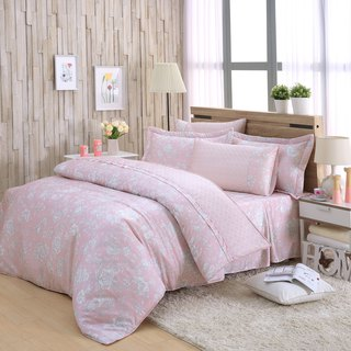 Double size flower language (powder) - Tencel dual-use bed cover six-piece group [100% lyocell]