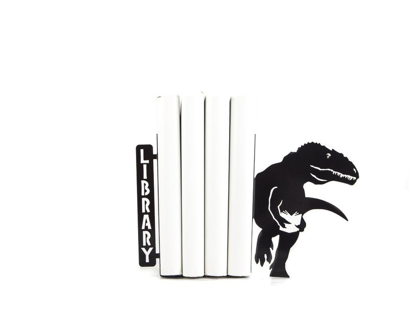 Metal Bookends // Dinosaurs didn't read Now they are extinct // Free shipping //