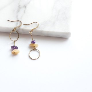 Brass Jewelry | Amethyst | Dongling Jade Ear Pins / Ear Clips