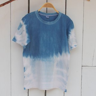 Free to stain isvara handmade blue dye pure series of cotton T-shirt