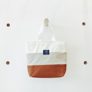 Colorblocked hand-toed bag - White rice coffee (drink double cup bag)
