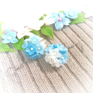Gradient blue flower ball earrings / ear hook / ear clip