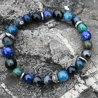 Deep Blue Nebula. Special Design Single Ring Sterling Silver Natural Hand Beads