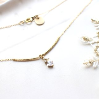 Forever-zircon brass necklace