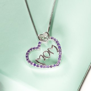 Mother's Day gift for mom necklace heart-shaped necklace zircon Purple Heart MOM Mother's Day Gift Present Heart Pendant Silver Necklace