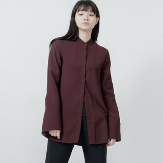 傘狀剪接襯衫 (紅)A-Line Shirt With Cutting Detail