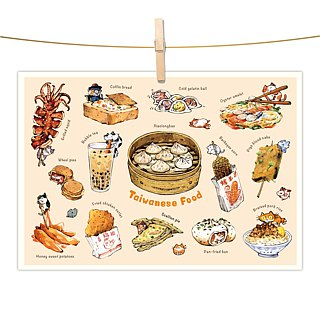 Afu watercolor illustration postcard - Taiwanese snack I- Xiao Long Bao