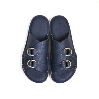 oqLiq - Root - Buckle Slippers (Dark Blue)
