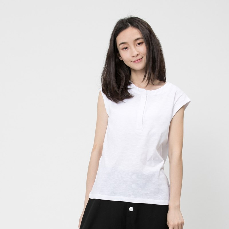 Slub yarn fabric cap sleeve shirt /White